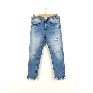 Zara Distressed Here and Now Embroidered Jeans